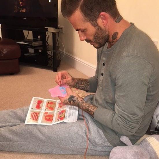 David Beckham Sewing Dresses Instagram Photo 2016