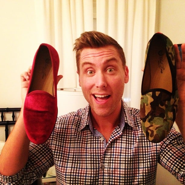 Lance Bass showed off his new suede loafers. Source: Instagram user lancebass