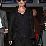 Brad Pitt Is Chipper Even After an International Flight