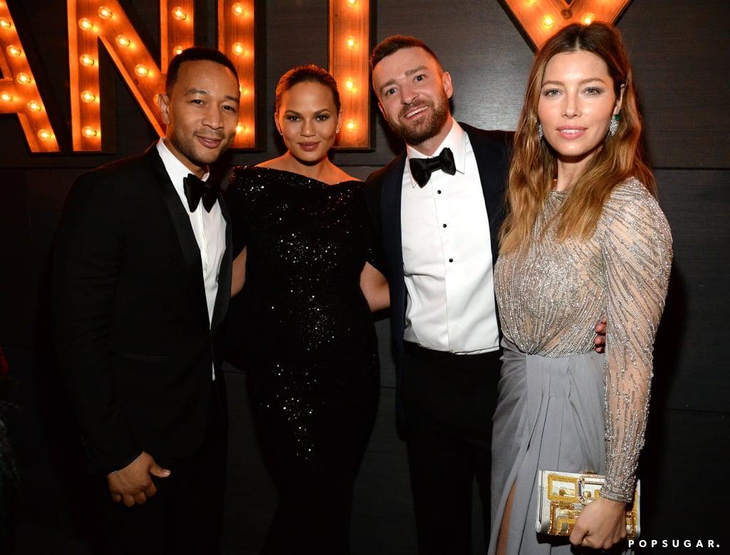 Pictured: Justin Timberlake, Jessica Biel, John Legend, and chrissy Teigen