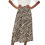 Topshop Zebra Print Pleated Midi Wrap Skirt