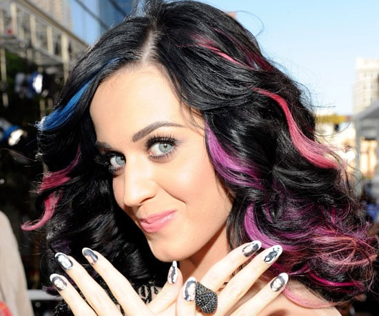 Katy Perry accessorised with ex-husband Russell Brand on her nails in 2010.