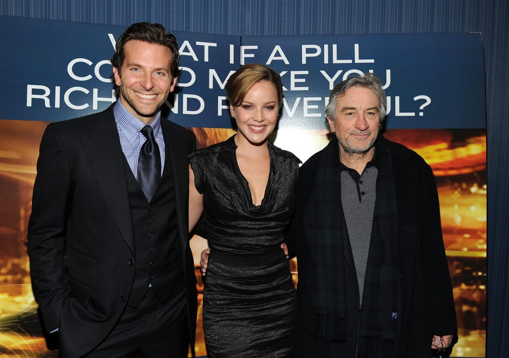 """Bradley Cooper was joined by his costars Abbie Cornish and Robert De Niro at the premiere of Limitless in NYC last night. He arrived in town after showing off the movie at a special screening in LA last week. Since then he's taken care of promotional duties, which included a weekend press junket and an appearance on Inside the Actors Studio. The show's host, James Lipton, showed his support for Bradley at last night's event where we chatted with the star on the red carpet. He touched on his intimate onscreen moments with Abbie while she called their kissing scenes """"easy"""" and shared her thoughts on Bradley's piercing blue eyes. A pregnant Alyssa Milano also came out and she gave a glowing review of the thriller. The fun continued when the whole cast headed to Buddakan for an afterparty that included Gossip Girl's Matthew Settle, Jason Bateman, and designer Rachel Roy."""