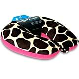 World's Best Air Soft Microbead Neck Pillow, Pink Giraffe