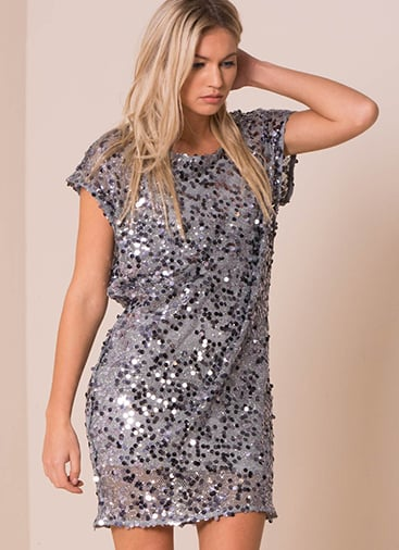 Missy Empire Pippa Silver Sequin Shift Mini Dress