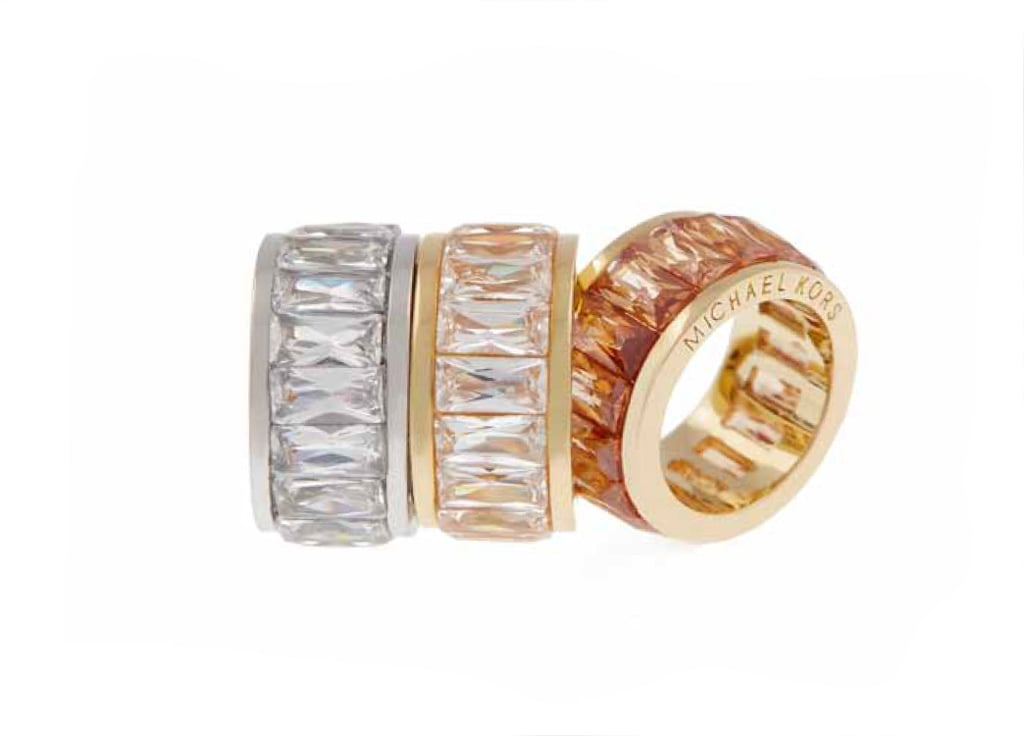 Silvertone Clear Crystal, Goldtone Clear Crystal, or Goldtone Light Topaz Crystal Baguette Ring: $75 each
