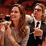 Angelina Jolie and Brad Pitt enjoyed a night out at the Cinema for Peace gala in Berlin.
