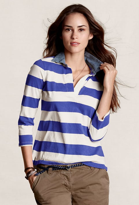 This striped rugby shirt, complete with denim collar, bodes well for an off-duty preppy outfit. Lands' End Women's Lightweight Rugby Shirt ($30)