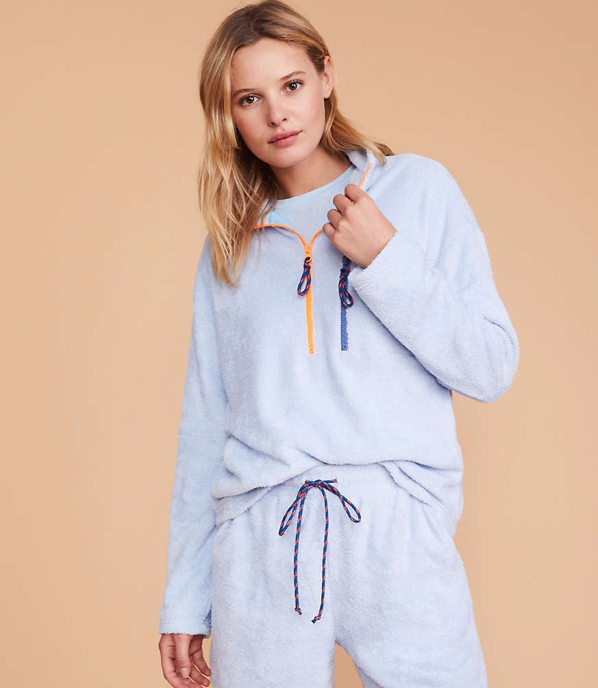 Fuzzy Terry Zip Sweatshirt