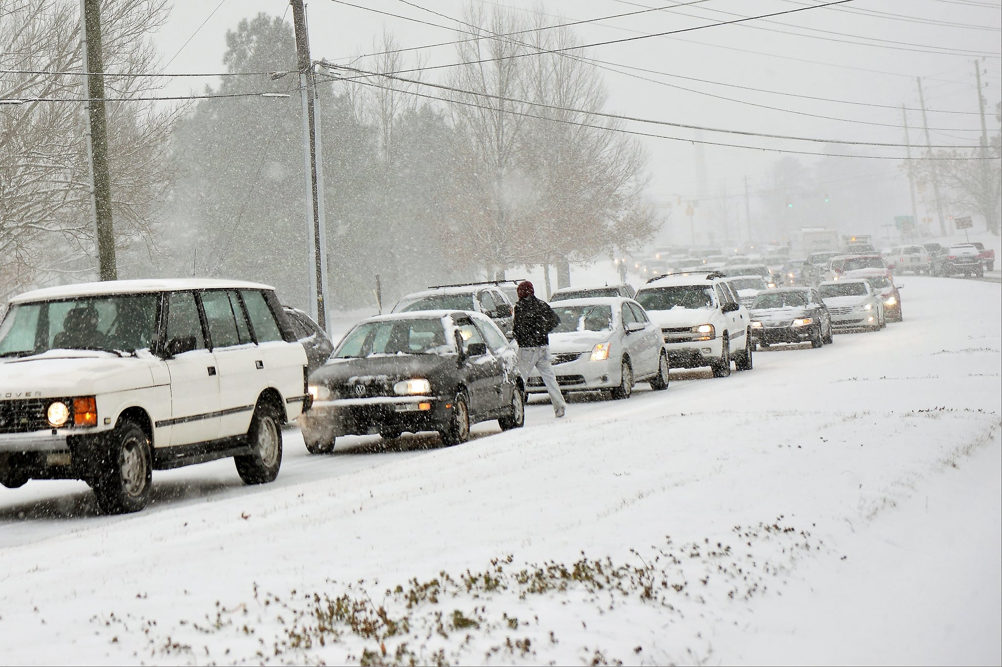 People in Raleigh, NC, were caught in crazy traffic jams.