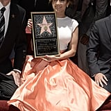 Jennifer Lopez smiled after receiving her award in Hollywood.