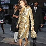 Zendaya Gold Trench Coat