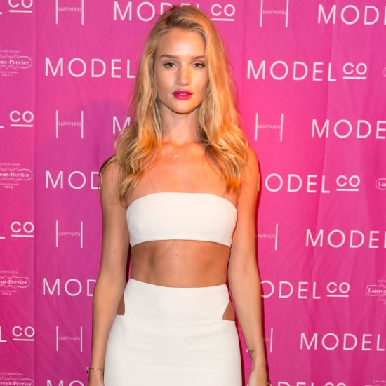 Rosie Huntington-Whiteley in White Calvin Klein Crop Top