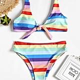 Dezzal Rainbow Stripe High Cut Bandeau Bikini