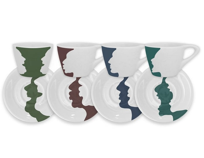 No need for a morning paper. The optical illusions of this cup & saucer espresso set ($50) provide plenty of entertainment.