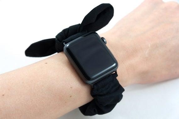 Black Velvet Bow Scrunchie Watch Band