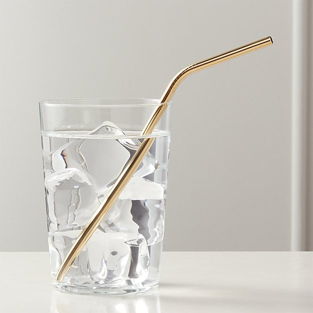 Gold Stainless Steel Straw Set of Eight