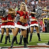The cheerleaders of the Tampa Bay Buccaneers show off their moves.