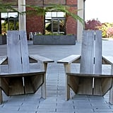 The outside coffee tables and chairs were made from wine barrels.