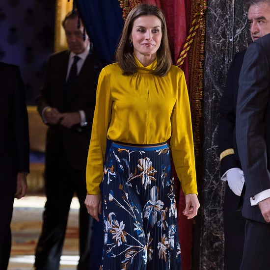 Queen Letizia Blue Floral Skirt