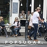 Chris Hemsworth took a stroll with baby India and ran into Sienna Miller lunching with her mom in London.