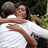The couple shared a sweet embrace during an event at the White House Kitchen Garden — which the first lady established in 2009 — in October.