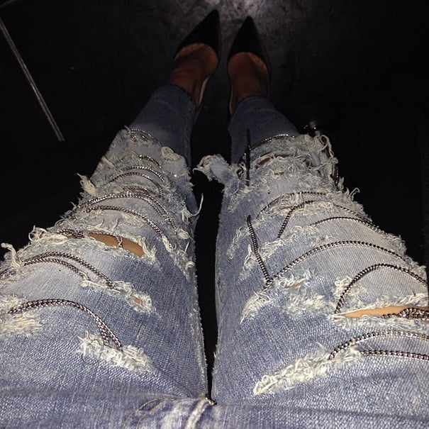 Kim Kardashian's Saint Laurent denim was definitely something she was thankful for. Source: Instagram user kimkardashian