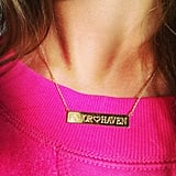 Jessica Alba showed off her new Jennifer Meyer nameplate necklace, which she had emblazoned with her daughters' names. Source: Instagram user jessicaalba