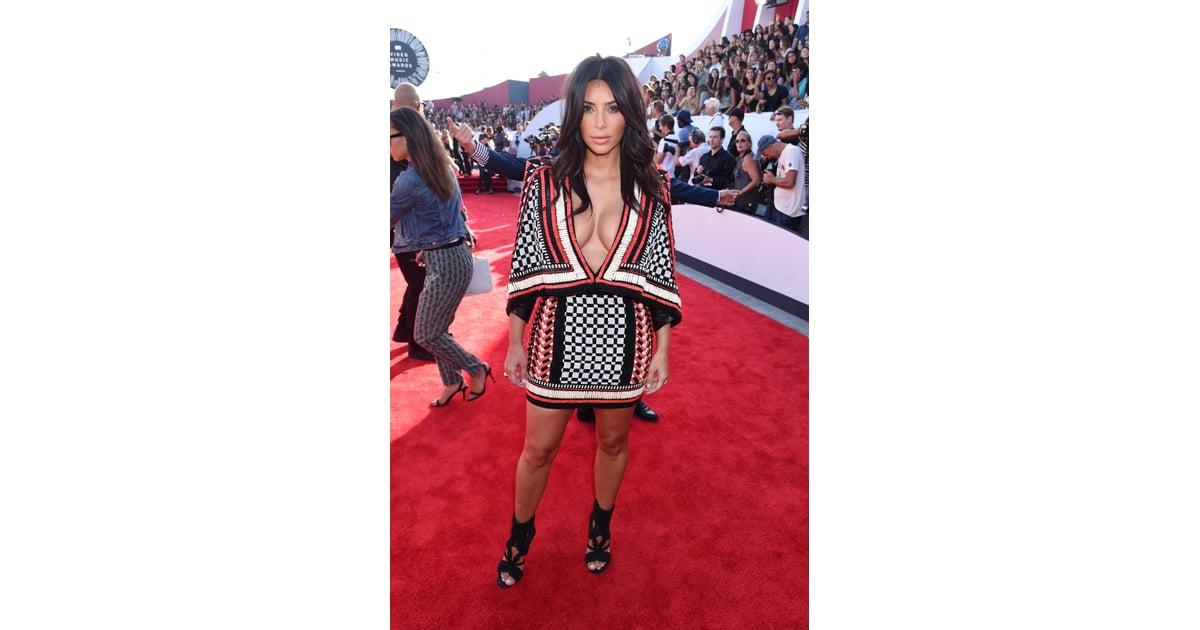 29604bc2 Kim wore this beaded dress and woven caged heels to the MTV VMAs in   Kim  Kardashian Balmain Looks   POPSUGAR Fashion Photo 18