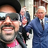 A man in Winnipeg, Manitoba, Canada, got a funny snap with Prince Charles when he visited in May 2014. Source: Instagram user isellcarsmofo
