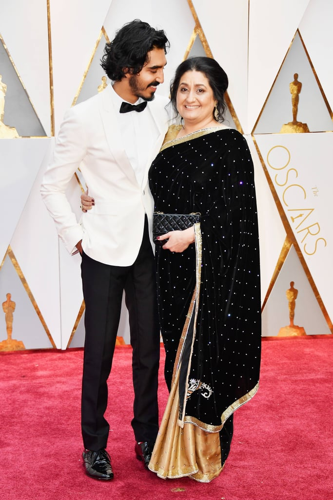 Dev Patel With His Mother at the 2017 Oscars