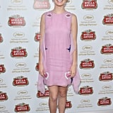 Ahna O'Reilly showed off her flirty side in a lilac Dior mini-dress at a Stella Artois event at the Cannes Film Festival.