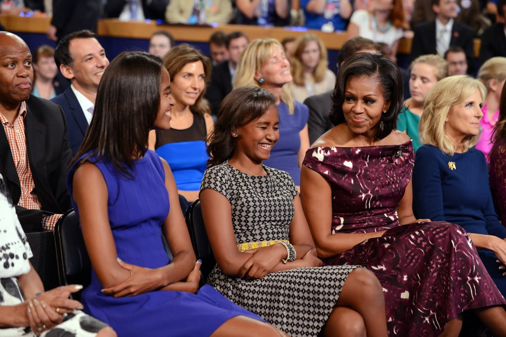 We're wondering what Sasha was cracking up about at the 2012 DNC.