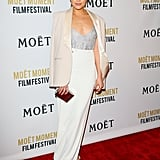 Olivia Culpo stepped out in a sleek skirt at the Moët & Chandon Globes kickoff party.