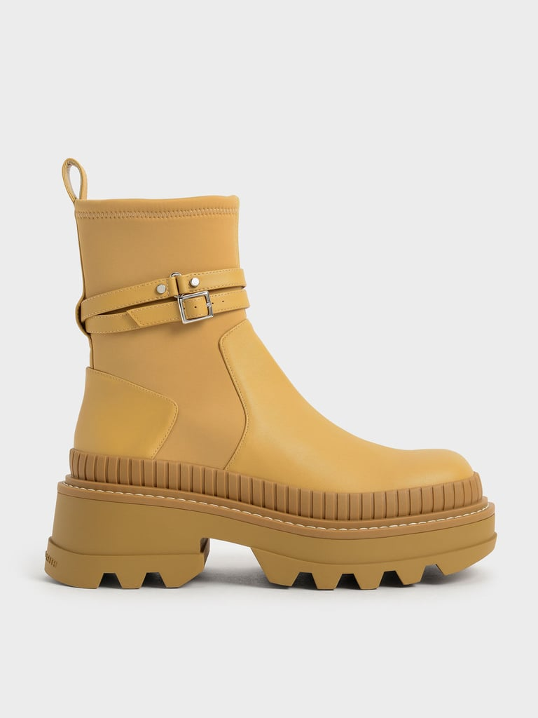 Charles & Keith Mustard Slip-On Platform Ankle Boots