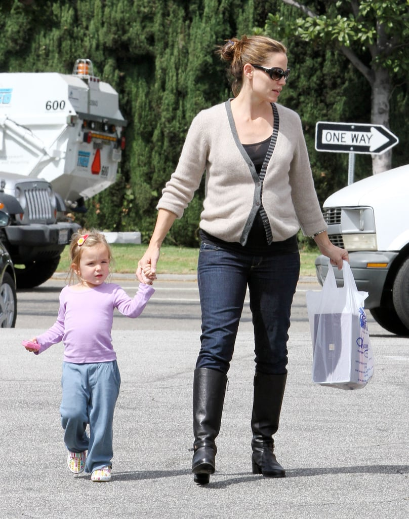 Jennifer Garner held onto Seraphina's hand as they ran errands around LA this afternoon. Violet was along for the outing as well, and she carried a stuffed whale as she followed behind her mom and sister. Jennifer spent the day with her girls after making a promotional appearance for Frigidaire yesterday. Jennifer wore a purple dress to launch the brand's newest product in collaboration with her charity of choice, Save the Children. When Jennifer isn't focused on her philanthropic duties, she has a pretty full schedule, which now includes a producing role on ABC's Cartoon Marriage. Meanwhile, her husband, Ben Affleck, is still hard at work on his own project, Argo, which he's also directing.