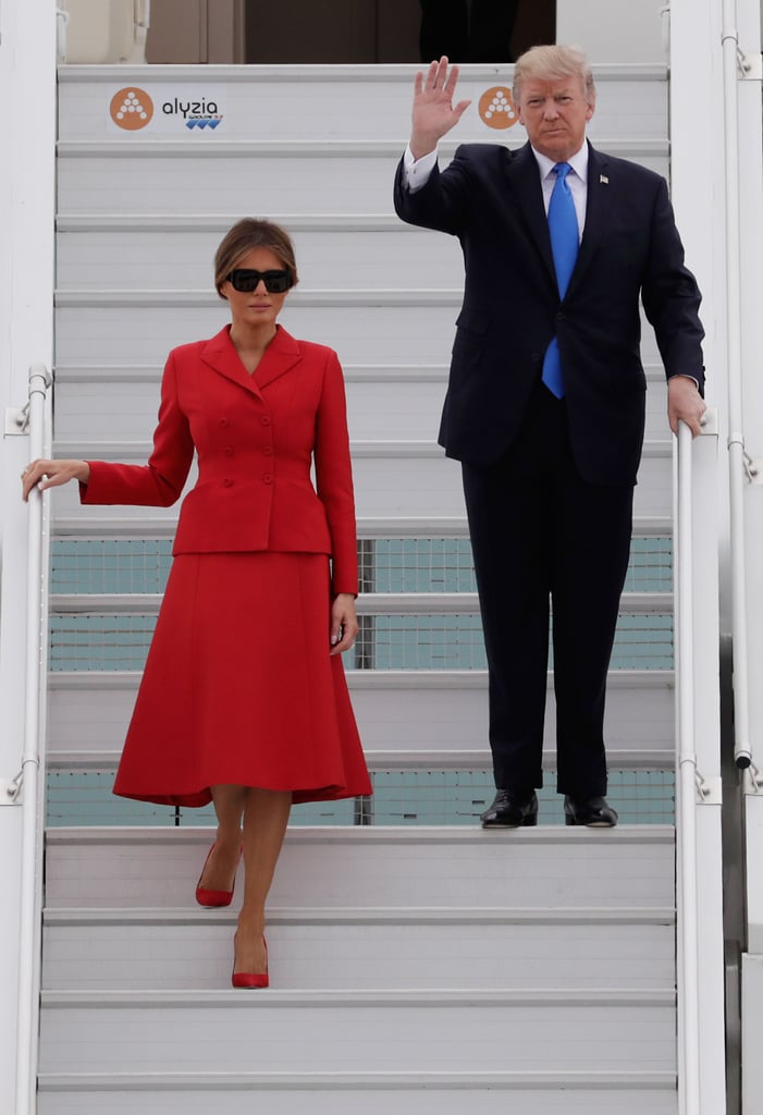 Melania Trump Chose a Red Dior Suit to Pay Homage to Paris