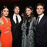 6. Ian was surrounded by his TV family. There were a ton of The Vampire Diaries actors on hand for the event including, Paul Wesley, Phoebe Tonkin, Kat Graham, Julie Plec, Matt Davis, Kevin Williamson, Chris Wood, and Marguerite MacIntyre. Lea Michele, who is close friends with Nikki, also attended with then-boyfriend Matthew Paetz.  7. Nikki's something blue was a bit untraditional. The couple had a blues band playing in the background at their reception.
