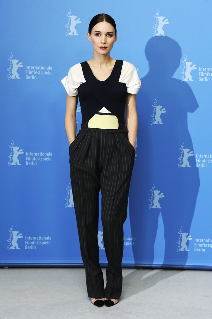 Rooney Mara's Balenciaga jumpsuit featured pinstripes, architectural lines, and cool colorblocking at the Side Effects photocall in Berlin.