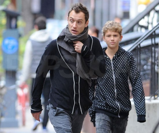 Slide Photo of Jude Law With His Son in NYC