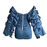 The Back of Kylie Jenner's TLZ L'Femme Blue Ruched Dress
