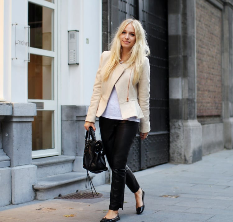Pair subtle shapes (like a strong shoulder and a pop of peplum) with cool contrasted colors. Case in point: a slick black pant with a cream-hued peplum jacket is chic to a T.  Photo courtesy of Lookbook.nu