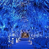 Blue uplighting and towering trees come together to create the perfect look for a winter wedding ceremony.