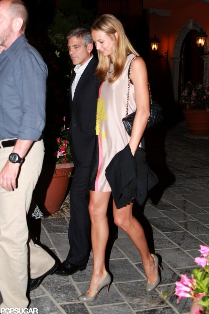 George Clooney and Stacy Keibler headed home from a dinner date.