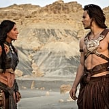 Lynn Collins and Taylor Kitsch in John Carter. Image courtesy of Walt Disney Pictures  >