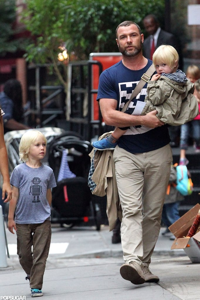 Liev Schreiber was out and about with his young sons, Sasha and Kai, yesterday in NYC. The father of two turns 45 today, and while he's spending his birthday week close to home, he and Naomi Watts did some traveling recently in support of his latest film. Liev and Naomi were at the Venice Film Festival premiere of The Reluctant Fundamentalist in late August. Liev stars in the upcoming drama alongside Kate Hudson, who kept up her end of the press tour for the project by taking the film to the Toronto International Film Festival last month as well. Despite busy work schedules for the Schreiber-Watts — Naomi spent much of her Summer in character as Princess Diana shooting a biopic of the royal — she and Liev also made time for a family vacation with the boys in Saint-Tropez in August.
