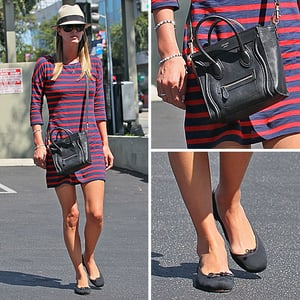 Nicky Hilton Wearing Express Striped Dress