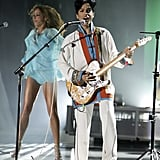 On stage at the Brit Awards in 2006.
