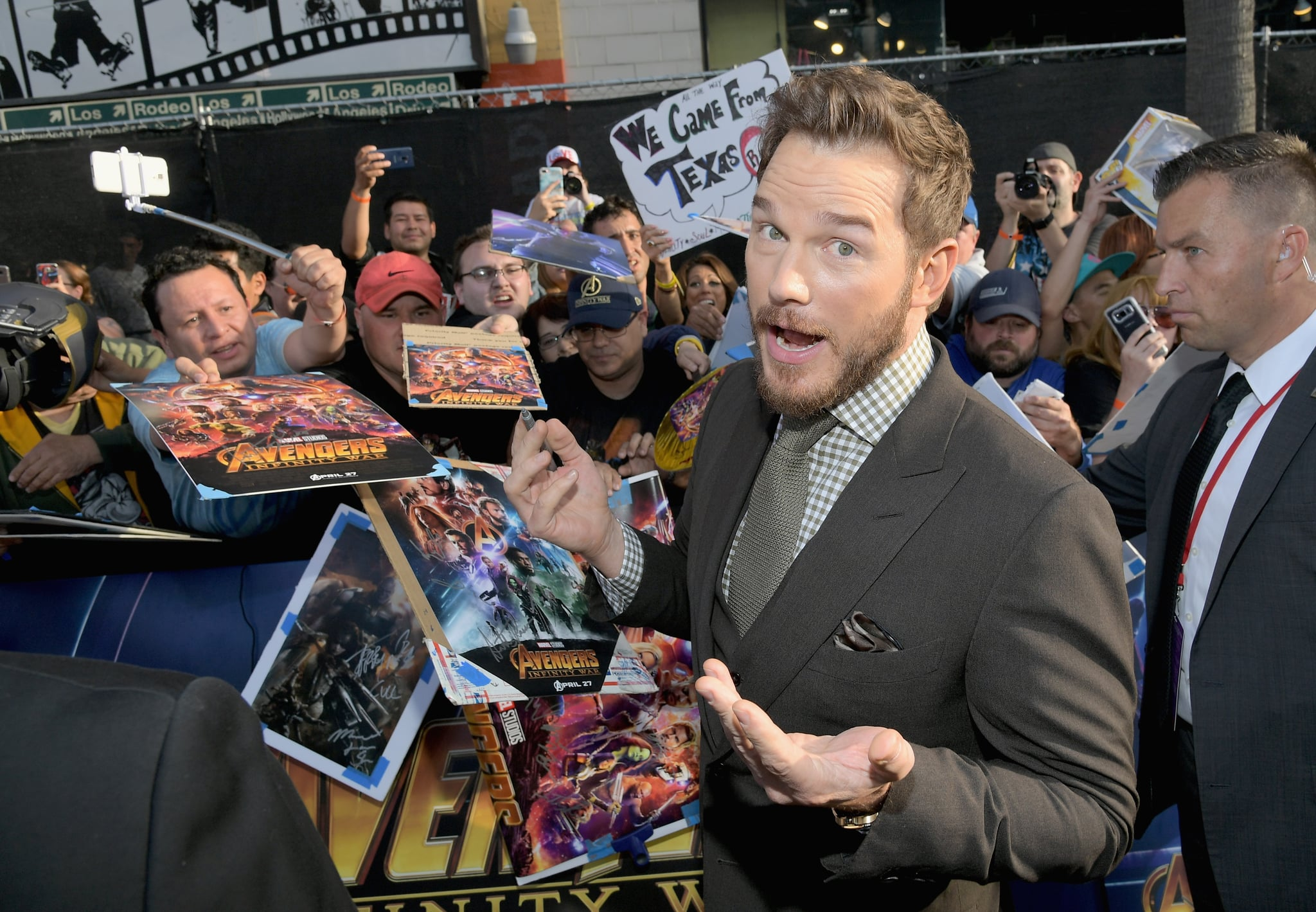 HOLLYWOOD, CA - APRIL 23:  Actor Chris Pratt attends the Los Angeles Global Premiere for Marvel Studios' Avengers: Infinity War on April 23, 2018 in Hollywood, California.  (Photo by Charley Gallay/Getty Images for Disney)