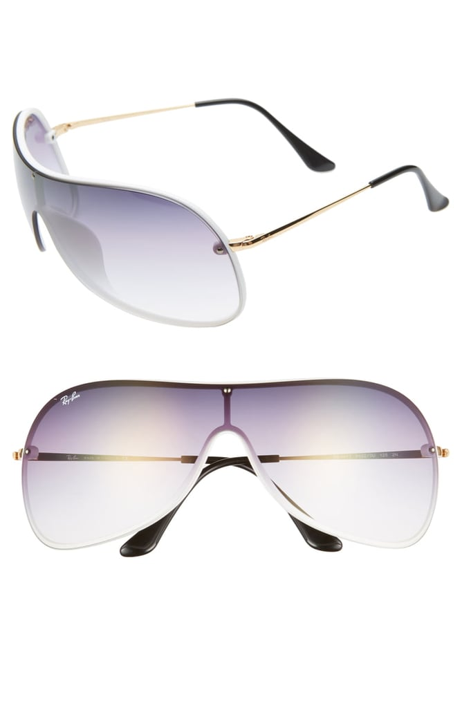 Ray-Ban 141mm Mirrored Shield Sunglasses